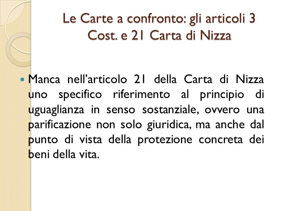 Le Carte a confronto: gli articoli 3 Cost. e 21 Carta di Nizza