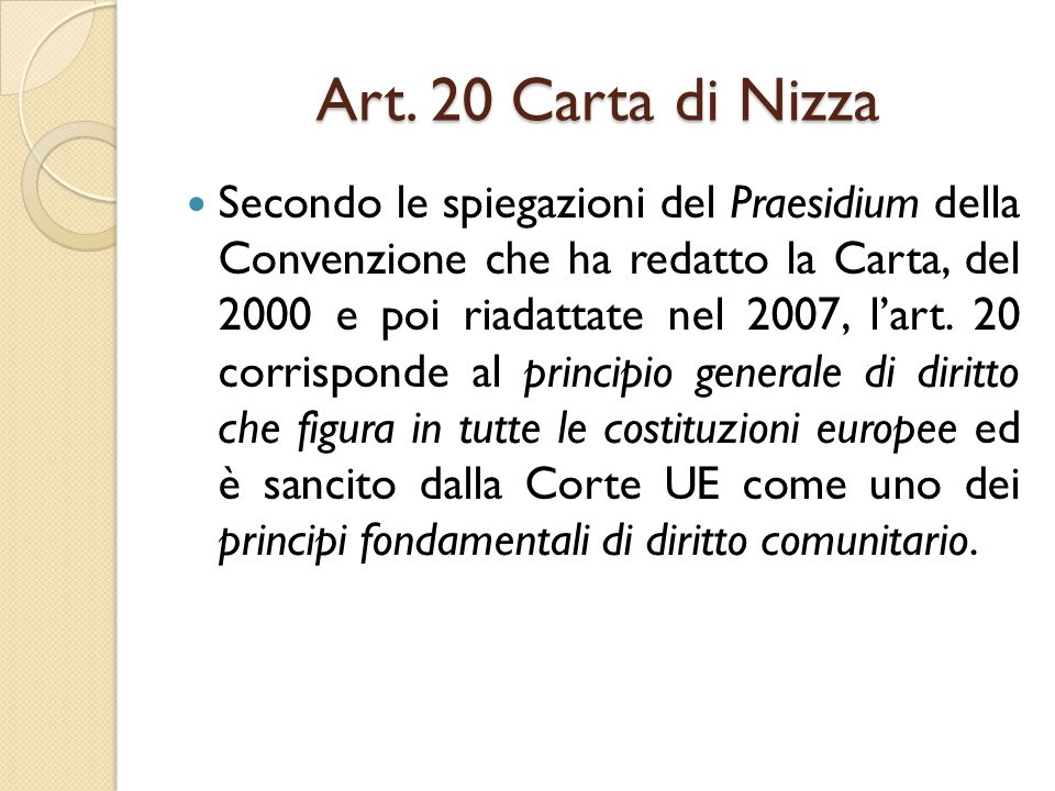 Art. 20 Carta di Nizza