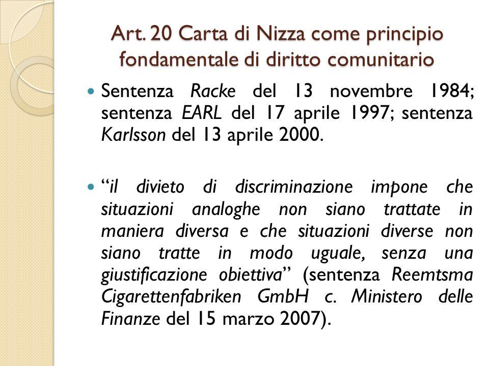 Art. 20 Carta di Nizza come principio fondamentale di diritto comunitario