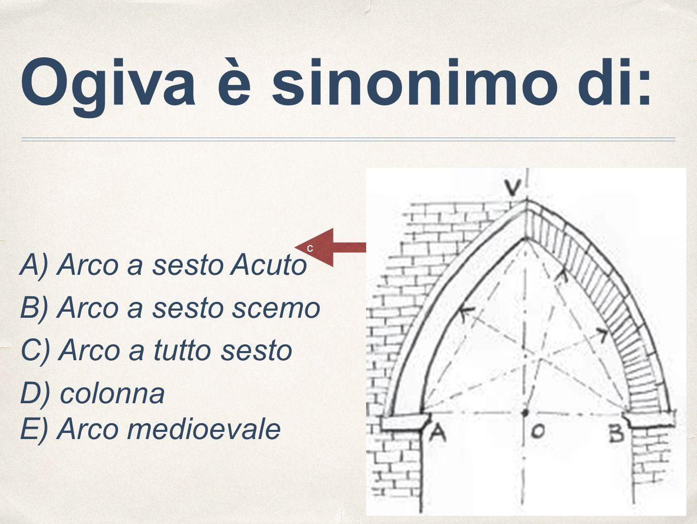 Ogiva è sinonimo di: B) Arco a sesto scemo C) Arco a tutto sesto