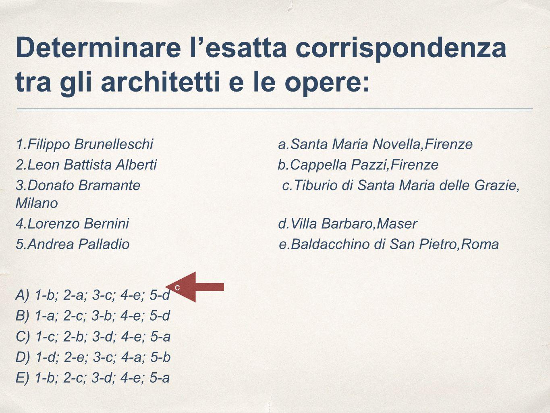 Determinare l'esatta corrispondenza tra gli architetti e le opere: