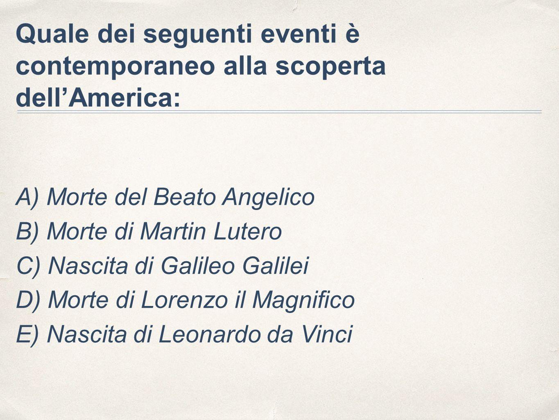 Quale dei seguenti eventi è contemporaneo alla scoperta dell'America: