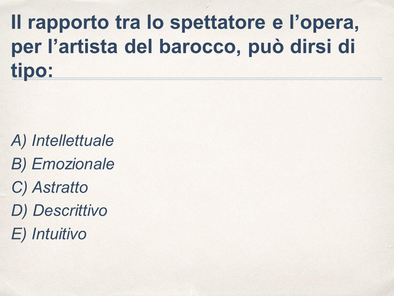 Il rapporto tra lo spettatore e l'opera, per l'artista del barocco, può dirsi di tipo: