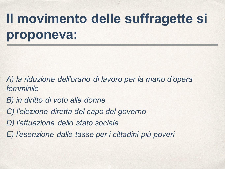 Il movimento delle suffragette si proponeva: