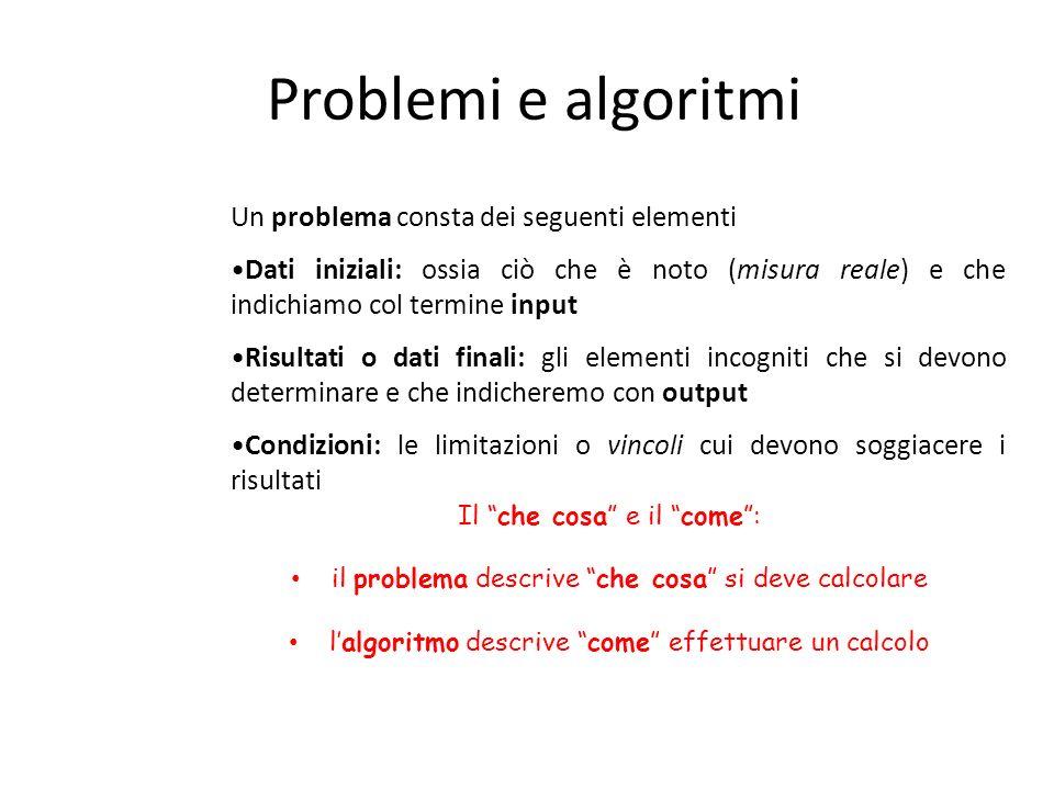 Problemi e algoritmi Un problema consta dei seguenti elementi