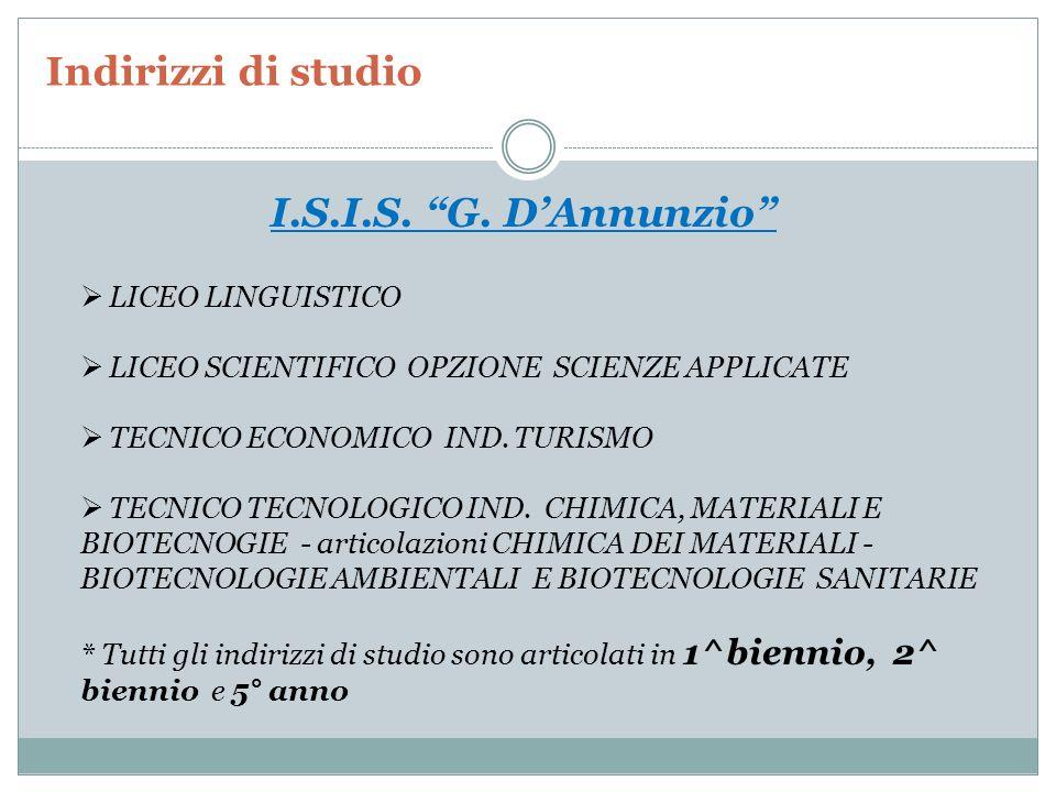 Indirizzi di studio I.S.I.S. G. D'Annunzio LICEO LINGUISTICO