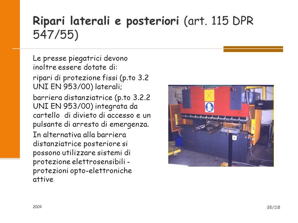 Ripari laterali e posteriori (art. 115 DPR 547/55)