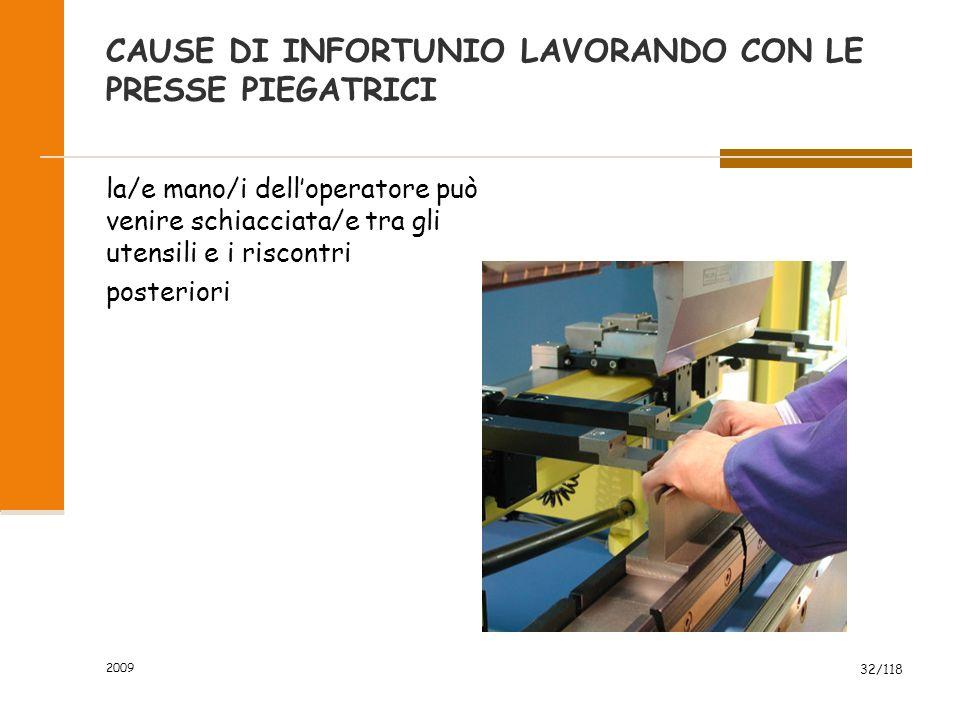 CAUSE DI INFORTUNIO LAVORANDO CON LE PRESSE PIEGATRICI