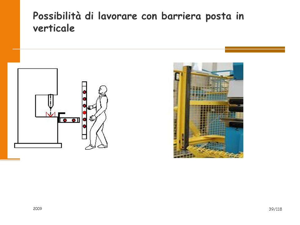 Possibilità di lavorare con barriera posta in verticale
