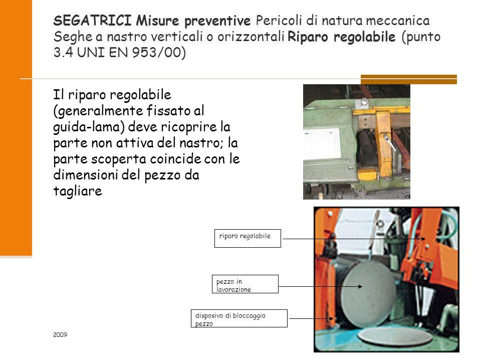 SEGATRICI Misure preventive Pericoli di natura meccanica Seghe a nastro verticali o orizzontali Riparo regolabile (punto 3.4 UNI EN 953/00)