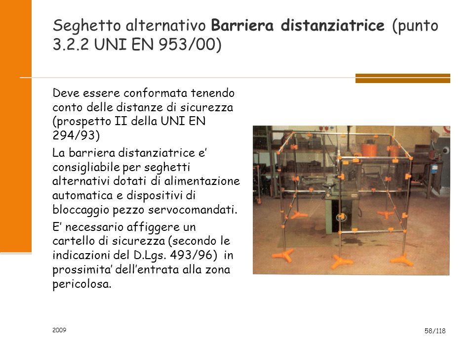 Seghetto alternativo Barriera distanziatrice (punto 3. 2