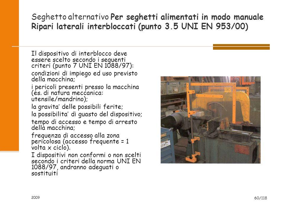 Seghetto alternativo Per seghetti alimentati in modo manuale Ripari laterali interbloccati (punto 3.5 UNI EN 953/00)