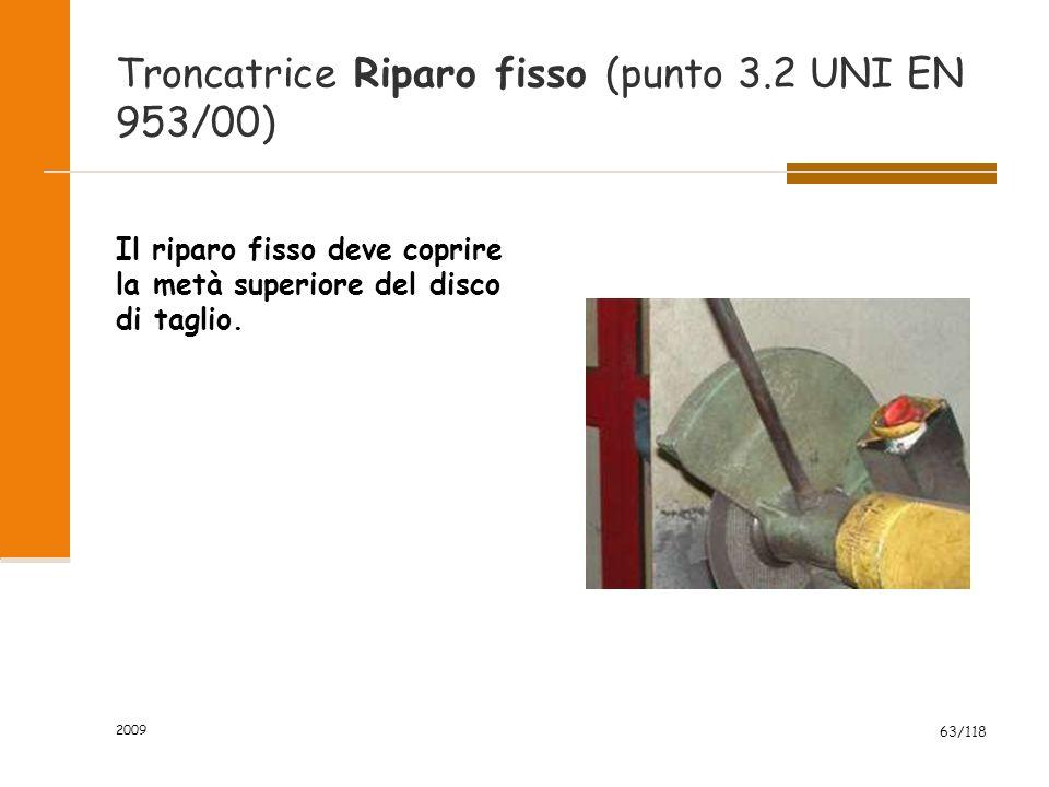 Troncatrice Riparo fisso (punto 3.2 UNI EN 953/00)