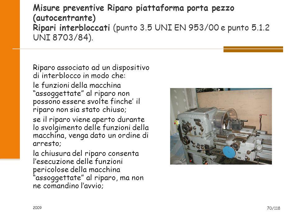 Misure preventive Riparo piattaforma porta pezzo (autocentrante) Ripari interbloccati (punto 3.5 UNI EN 953/00 e punto 5.1.2 UNI 8703/84).