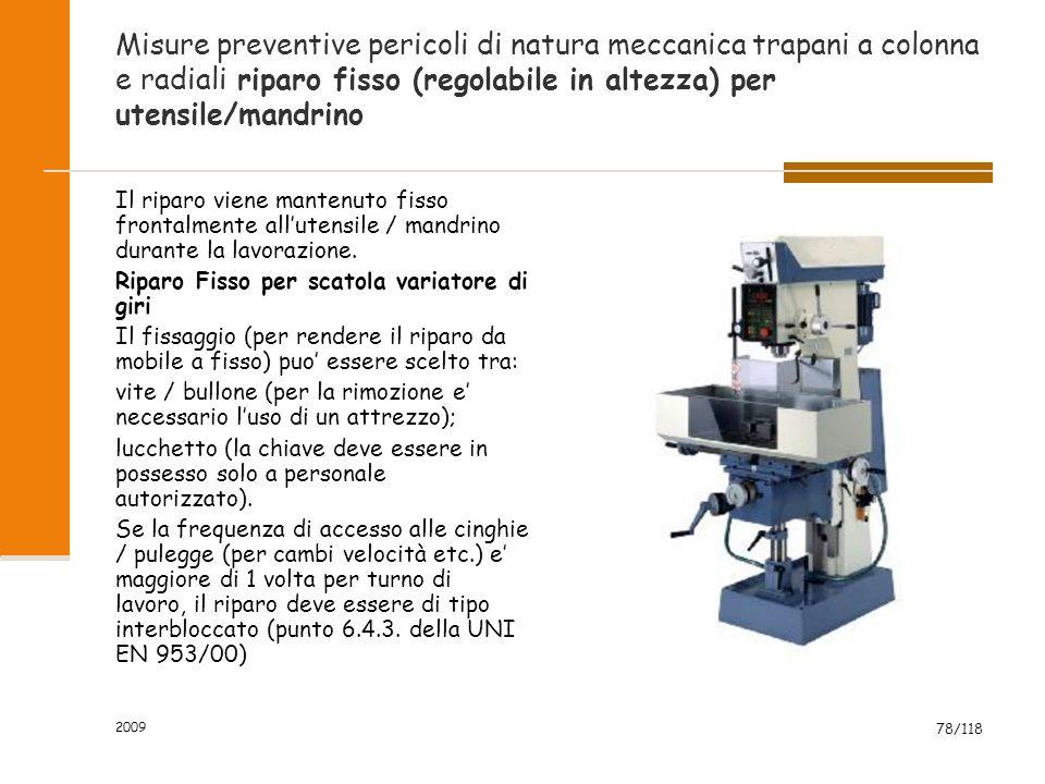 Misure preventive pericoli di natura meccanica trapani a colonna e radiali riparo fisso (regolabile in altezza) per utensile/mandrino