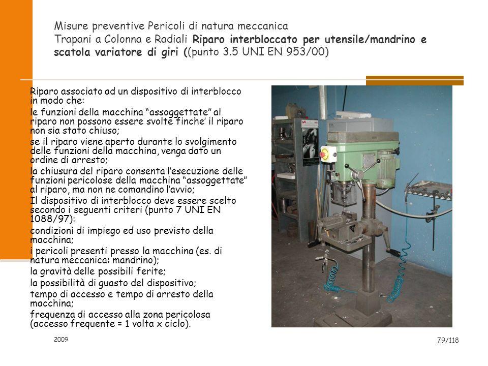 Misure preventive Pericoli di natura meccanica Trapani a Colonna e Radiali Riparo interbloccato per utensile/mandrino e scatola variatore di giri ((punto 3.5 UNI EN 953/00)