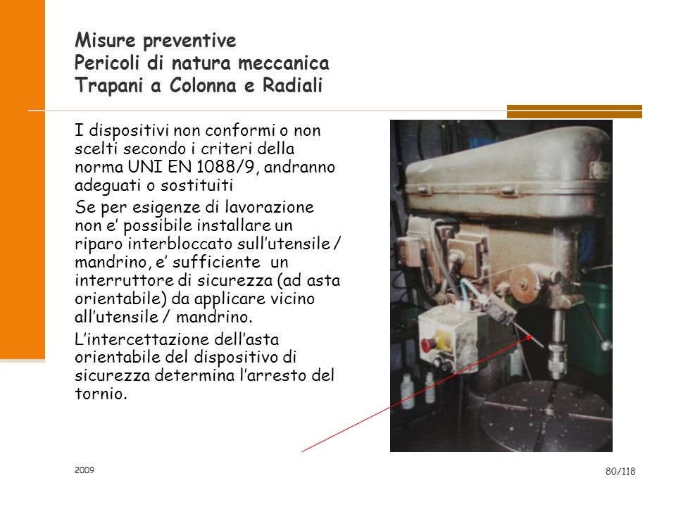 Misure preventive Pericoli di natura meccanica Trapani a Colonna e Radiali