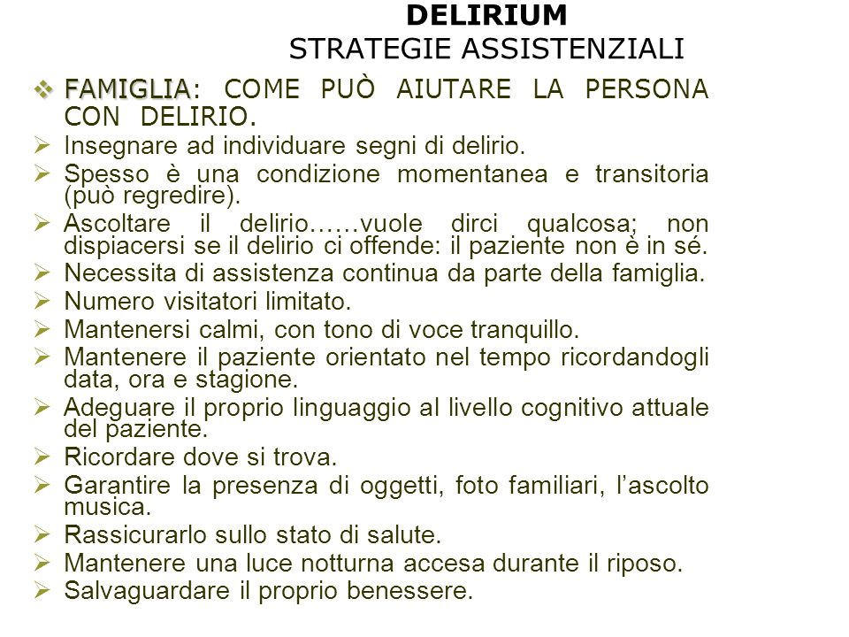 DELIRIUM STRATEGIE ASSISTENZIALI