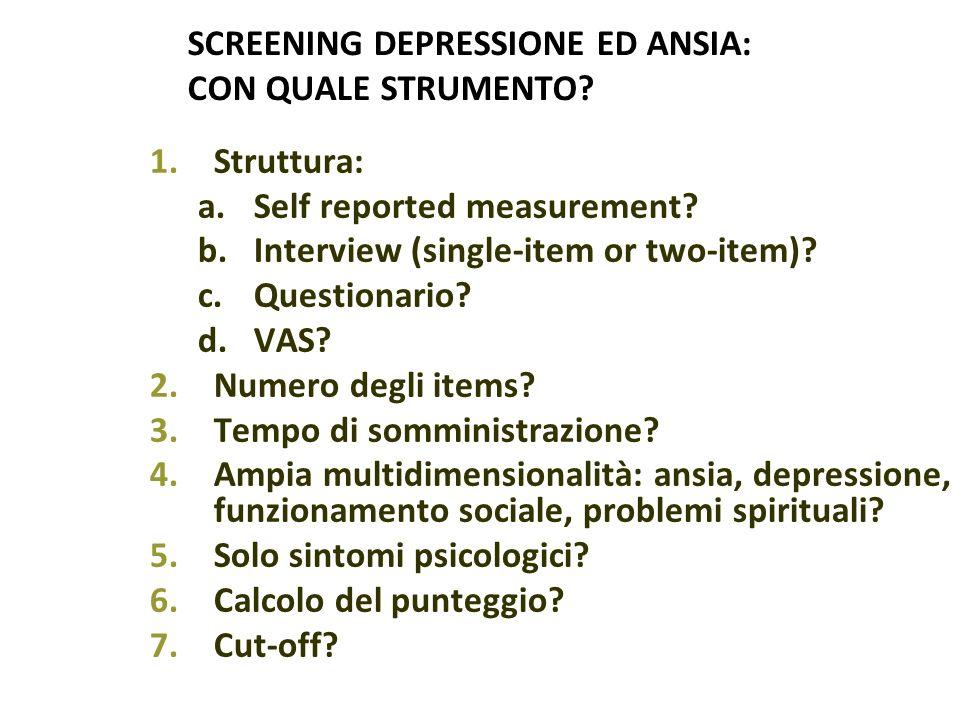 SCREENING DEPRESSIONE ED ANSIA: CON QUALE STRUMENTO