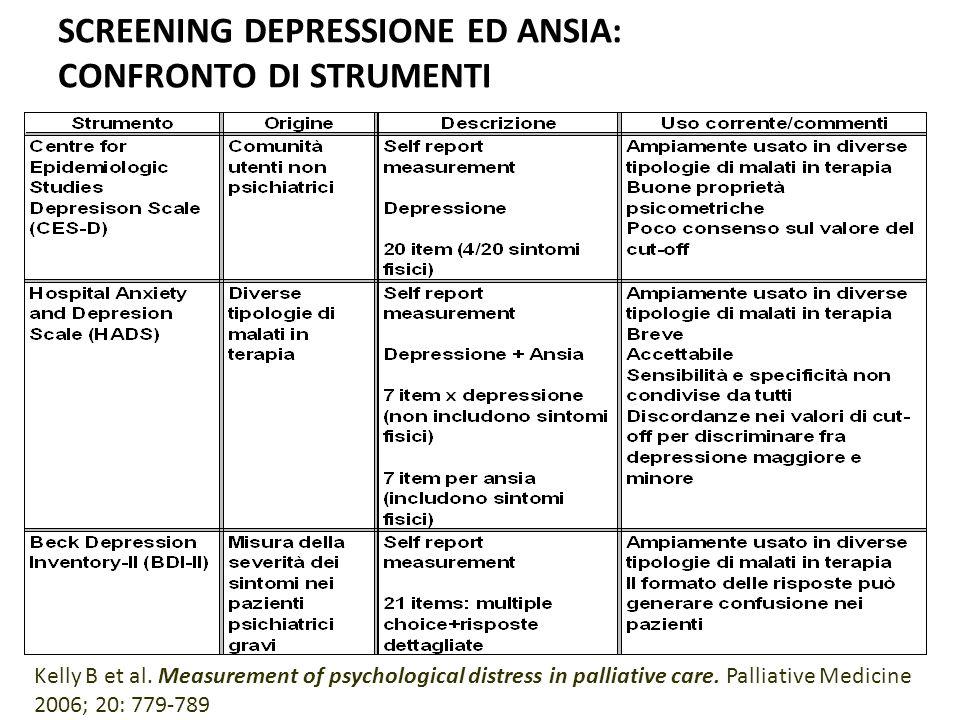 SCREENING DEPRESSIONE ED ANSIA: CONFRONTO DI STRUMENTI