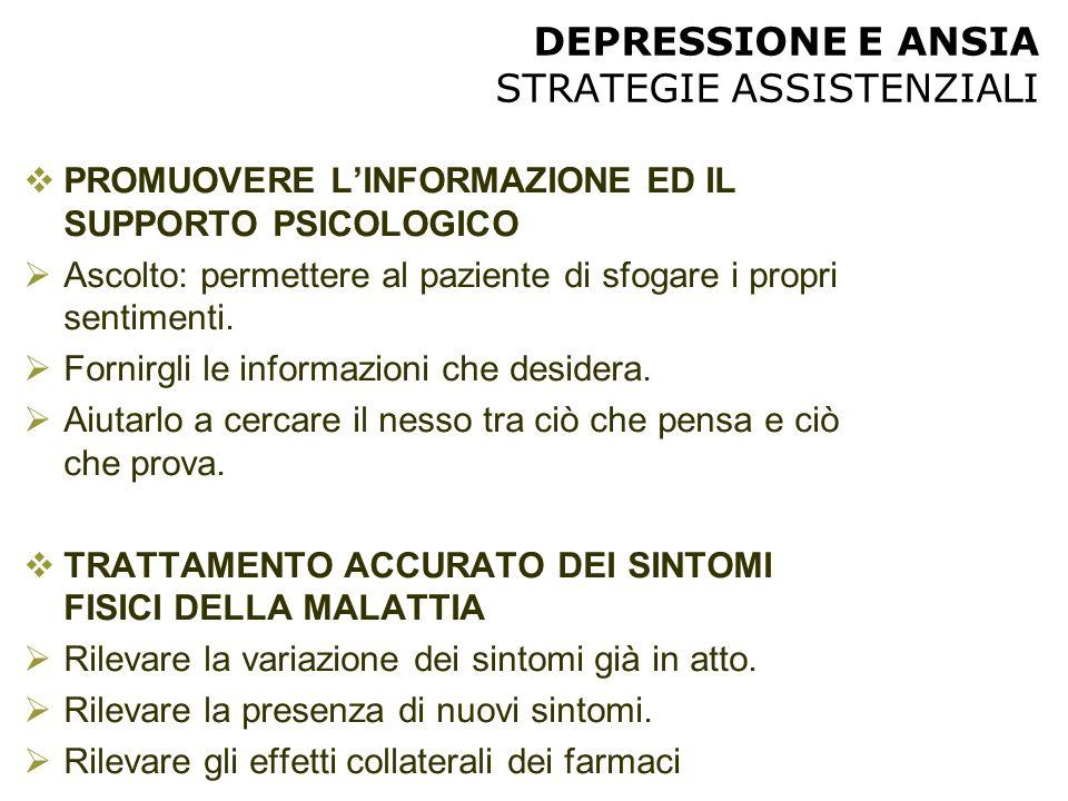 DEPRESSIONE E ANSIA STRATEGIE ASSISTENZIALI