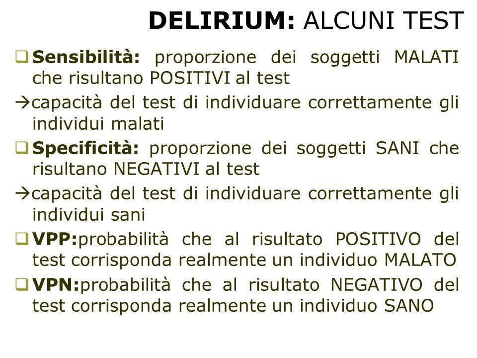 DELIRIUM: ALCUNI TEST Sensibilità: proporzione dei soggetti MALATI che risultano POSITIVI al test.