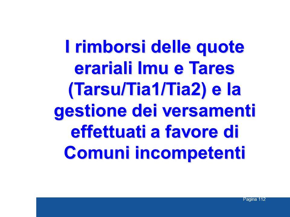 I rimborsi delle quote erariali Imu e Tares (Tarsu/Tia1/Tia2) e la gestione dei versamenti effettuati a favore di Comuni incompetenti