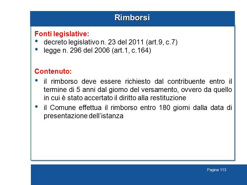 Rimborsi Fonti legislative: