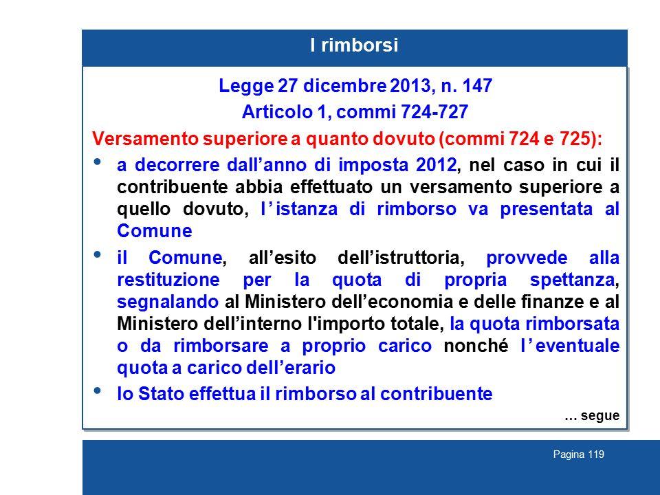 I rimborsi Legge 27 dicembre 2013, n. 147 Articolo 1, commi 724-727