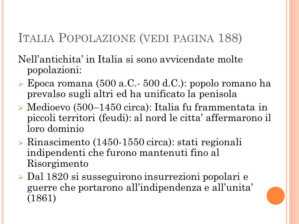 Italia Popolazione (vedi pagina 188)