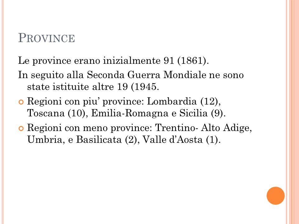 Province Le province erano inizialmente 91 (1861).
