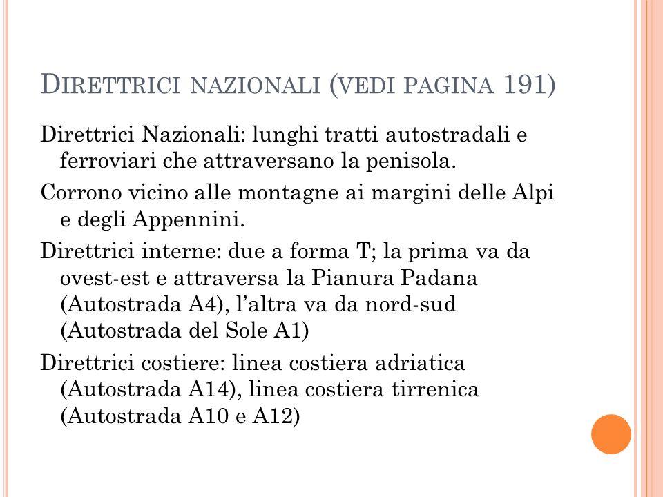Direttrici nazionali (vedi pagina 191)