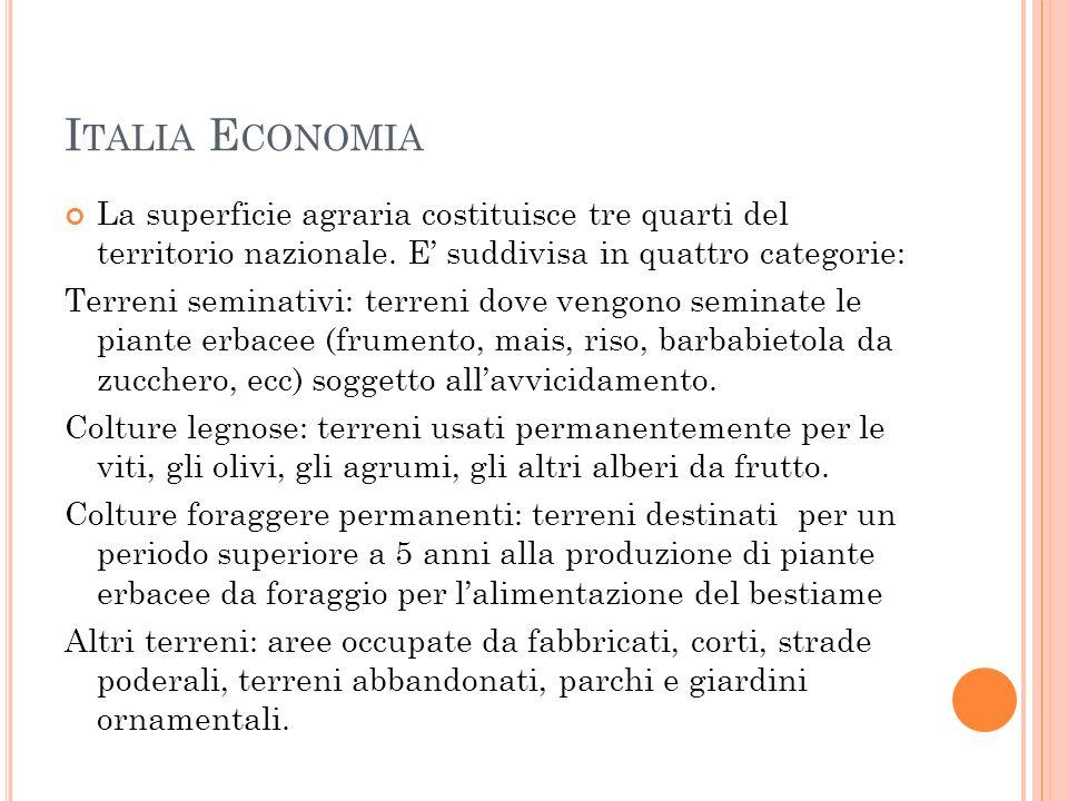 Italia Economia La superficie agraria costituisce tre quarti del territorio nazionale. E' suddivisa in quattro categorie: