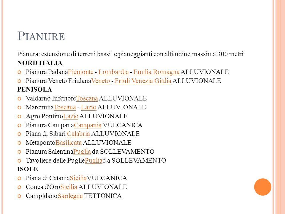 Pianure Pianura: estensione di terreni bassi e pianeggianti con altitudine massima 300 metri. NORD ITALIA