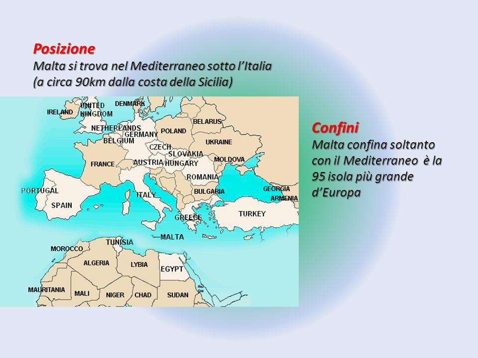 Posizione Malta si trova nel Mediterraneo sotto l'Italia (a circa 90km dalla costa della Sicilia) Confini.