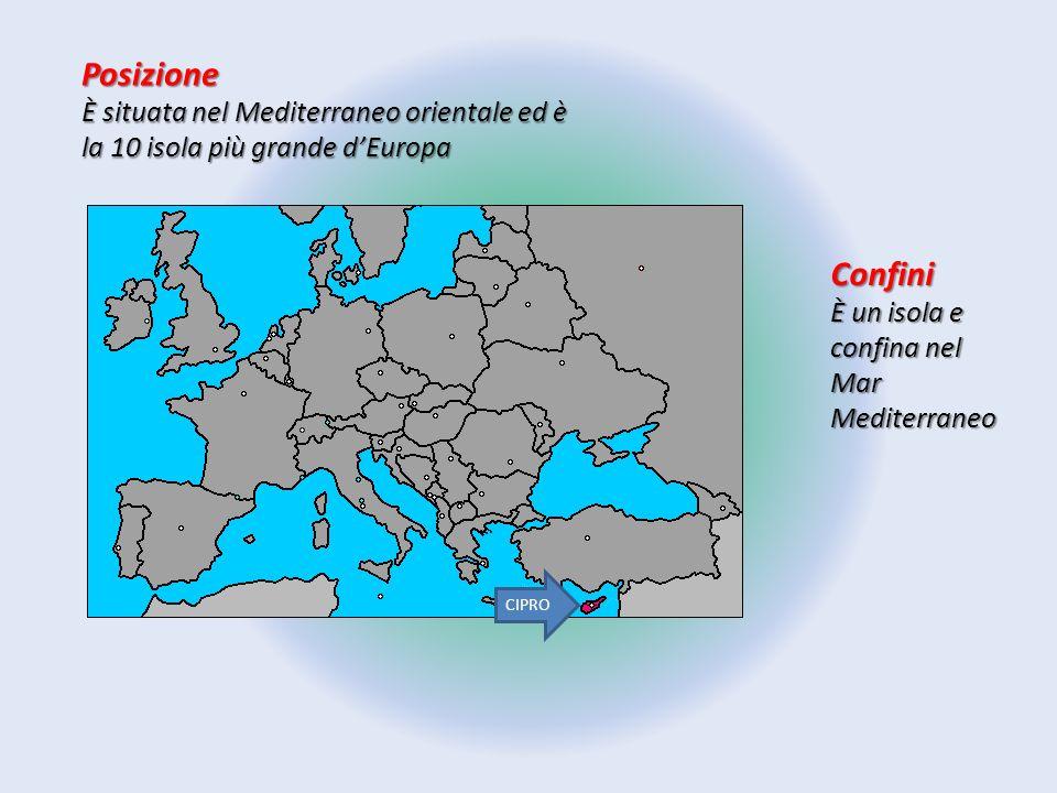 Posizione È situata nel Mediterraneo orientale ed è la 10 isola più grande d'Europa. Confini. È un isola e confina nel Mar Mediterraneo.