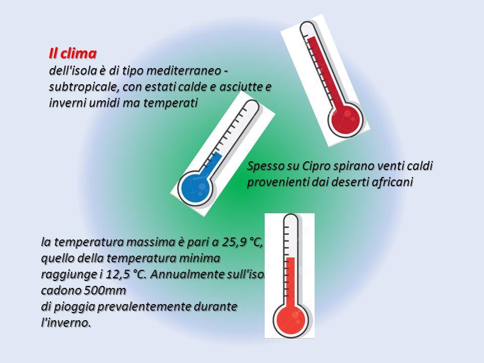 Il clima dell isola è di tipo mediterraneo - subtropicale, con estati calde e asciutte e inverni umidi ma temperati.