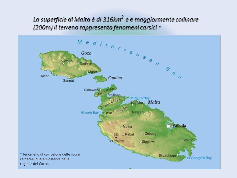 2 La superficie di Malta è di 316km e è maggiormente collinare (200m) il terreno rappresenta fenomeni carsici *
