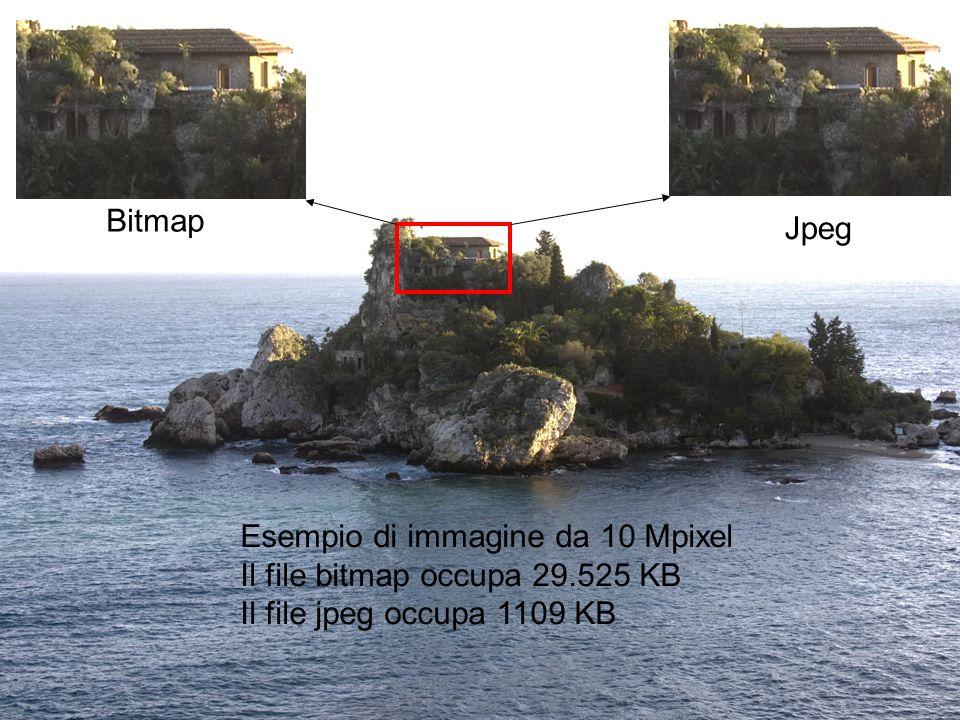 Bitmap Jpeg. Esempio di immagine da 10 Mpixel. Il file bitmap occupa 29.525 KB.