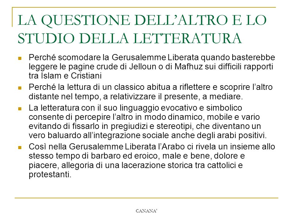 LA QUESTIONE DELL'ALTRO E LO STUDIO DELLA LETTERATURA
