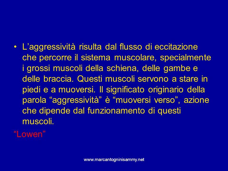 L'aggressività risulta dal flusso di eccitazione che percorre il sistema muscolare, specialmente i grossi muscoli della schiena, delle gambe e delle braccia. Questi muscoli servono a stare in piedi e a muoversi. Il significato originario della parola aggressività è muoversi verso , azione che dipende dal funzionamento di questi muscoli.