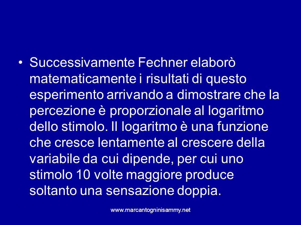 Successivamente Fechner elaborò matematicamente i risultati di questo esperimento arrivando a dimostrare che la percezione è proporzionale al logaritmo dello stimolo. Il logaritmo è una funzione che cresce lentamente al crescere della variabile da cui dipende, per cui uno stimolo 10 volte maggiore produce soltanto una sensazione doppia.