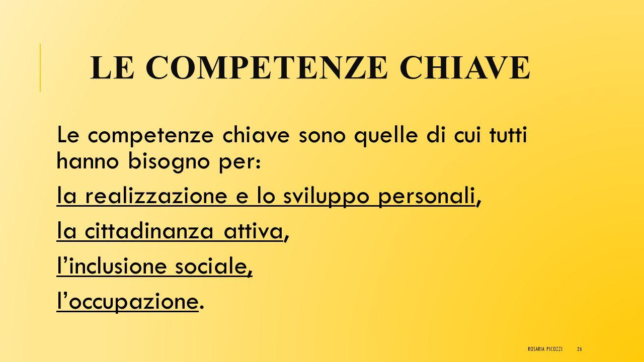 LE COMPETENZE CHIAVE Le competenze chiave sono quelle di cui tutti hanno bisogno per: la realizzazione e lo sviluppo personali,