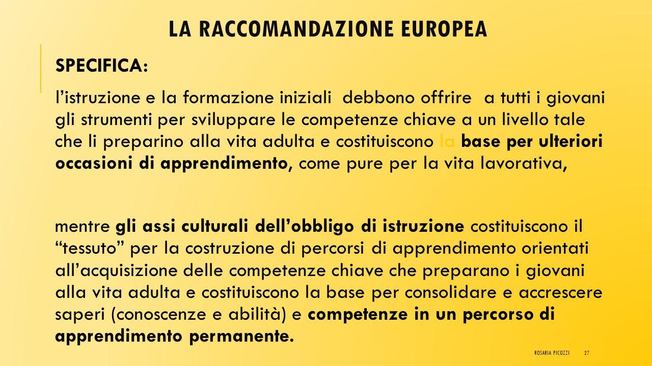 LA RACCOMANDAZIONE EUROPEA
