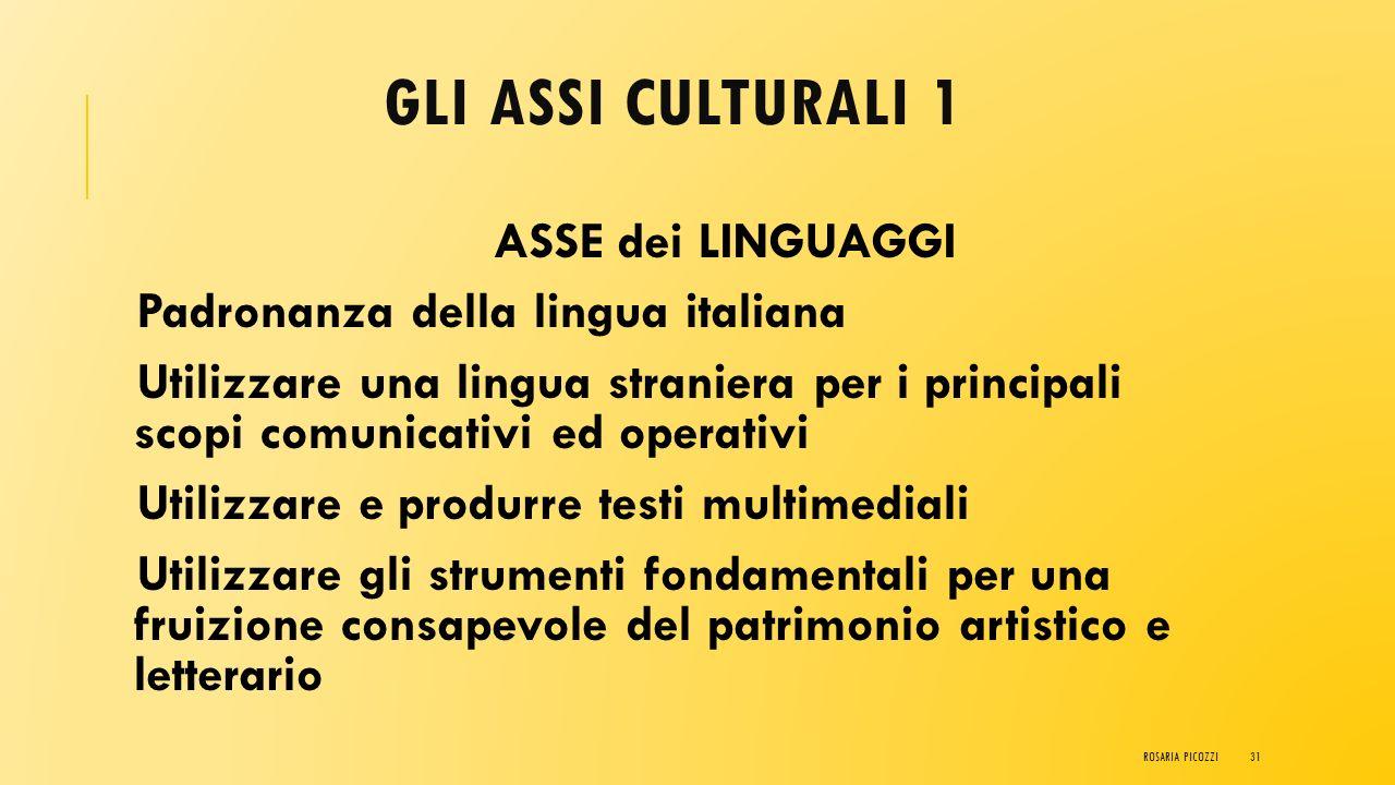 Gli ASSI CULTURALI 1 Padronanza della lingua italiana