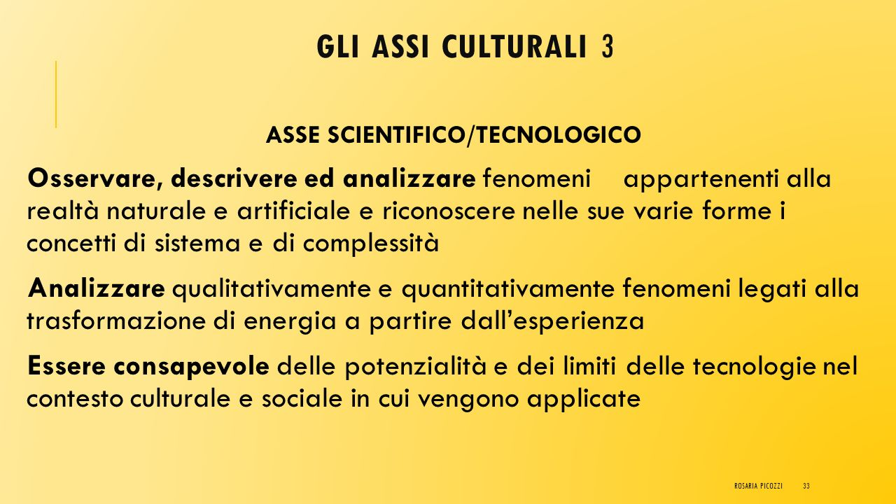 ASSE SCIENTIFICO/TECNOLOGICO