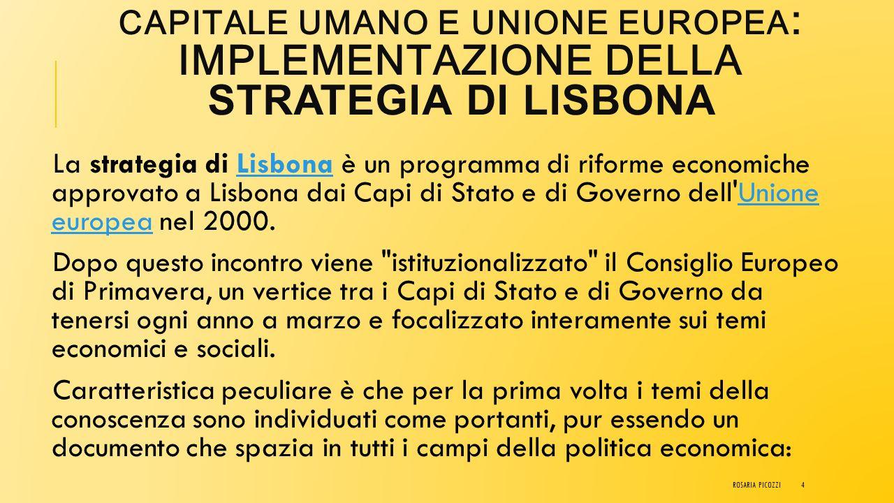 CAPITALE UMANO e Unione Europea: implementazione della Strategia di Lisbona