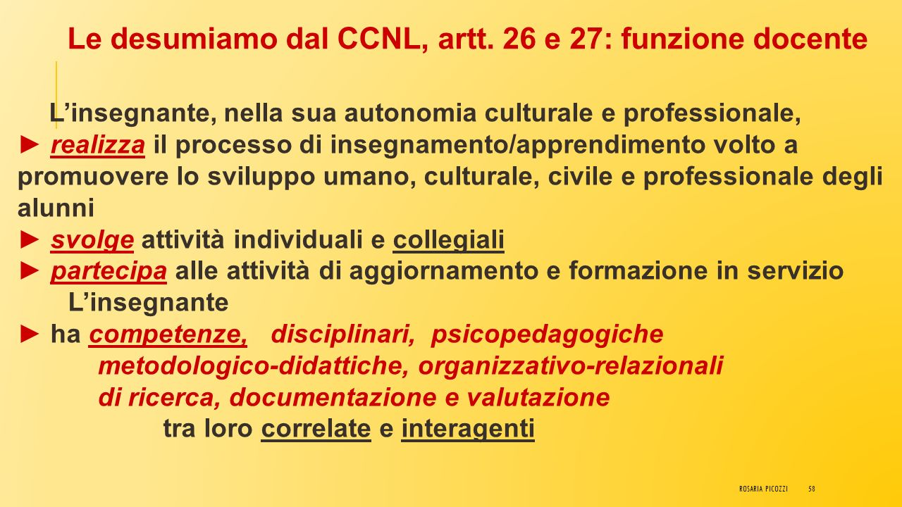 Le desumiamo dal CCNL, artt. 26 e 27: funzione docente