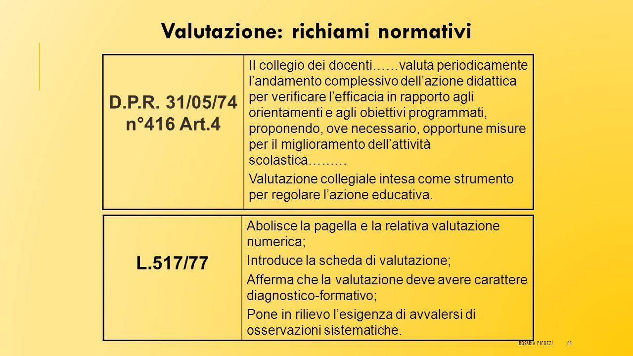 Valutazione: richiami normativi