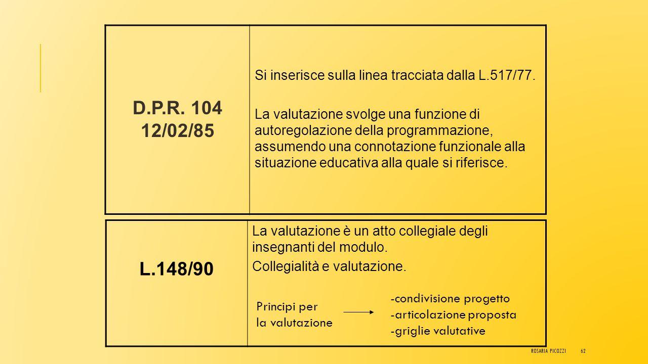 D.P.R. 104 12/02/85 Si inserisce sulla linea tracciata dalla L.517/77.